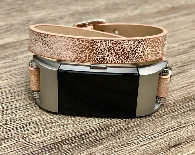 Fitbit Charge 2 Band Handmade Sparky Gold Leather Vegan Double Wrap Fitbit Charge 2 Wristband Sand Gold Color Unisex Fitbit Charge 2 Jewelry