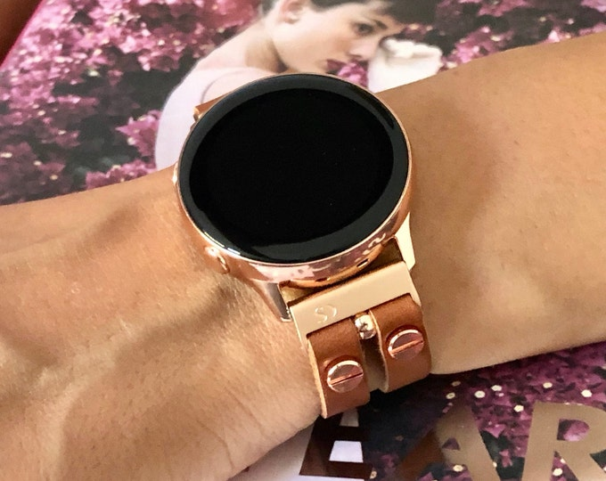 Women Samsung Galaxy Watch Active2 Band 40mm 44mm Light Brown Leather Samsung Galaxy Watch 42mm Bracelet Rose Gold Galaxy Active Strap