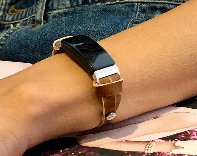 Bronze Leather Fitbit Inspire HR Strap Women Style Fitbit Inspire HR Bracelet Adjustable Slim Fitbit Inspire Strap Wristband, Fitbit Jewelry