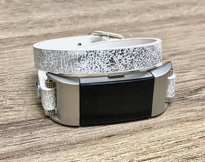 Sparkly White Bracelet for Fitbit Charge 2 Tracker Handmade Double Wrap Fitbit Charge 2 Band Adjustable Vegan Leather Fitbit Charge 2 Strap