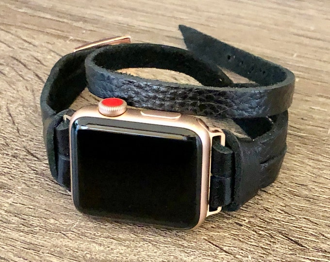Rose Gold & Black Leather Apple Watch Band 38mm 40mm 42mm 44mm iWatch Band Apple Watch Bracelet Rose Gold iWatch Wristband Watchband Strap