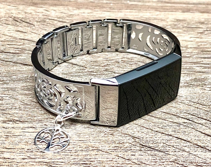 FITBIT CHARGE 3 Band Women, Silver Flowers Design Silver Fitbit Bangle Tree of Life, Metal Fitbit Charge 3 Bracelet, Fitbit Charge 3 Jewelry