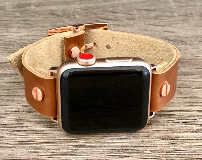 Leather Apple Watch Band 38mm 40mm 42mm 44mm iWatch Bracelet Series 5 4 3 2 1 Adjustable Size Brown Strap Cuff Band Rose Gold Apple Watch