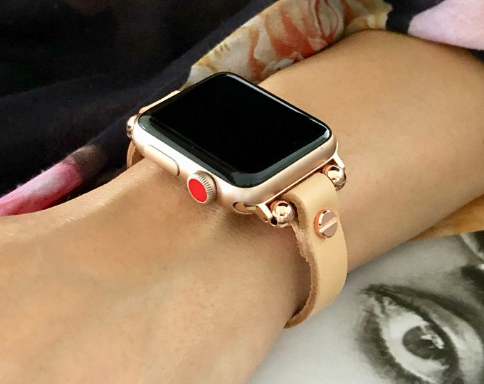 Tan Leather Apple Watch Band 38mm 40mm 42mm 44mm Rose Gold iWatch Women Bracelet Slim Apple Watch Strap Band Adjustable iWatch Wristband