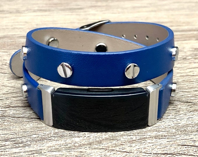 Navy Blue Fitbit Inspire HR Band, Vegan Leather Fitbit Inspire HR Strap, Fitbit Inspire HR Bracelet, Adjustable Fitbit Inspire Wrist Jewelry