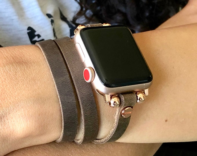 Rustic Leather Apple Watch Band 41mm Rose Gold Apple Watch Bracelet 40mm Apple Watch Wristband Apple Watch Band 45mm Apple Watch Band 44mm
