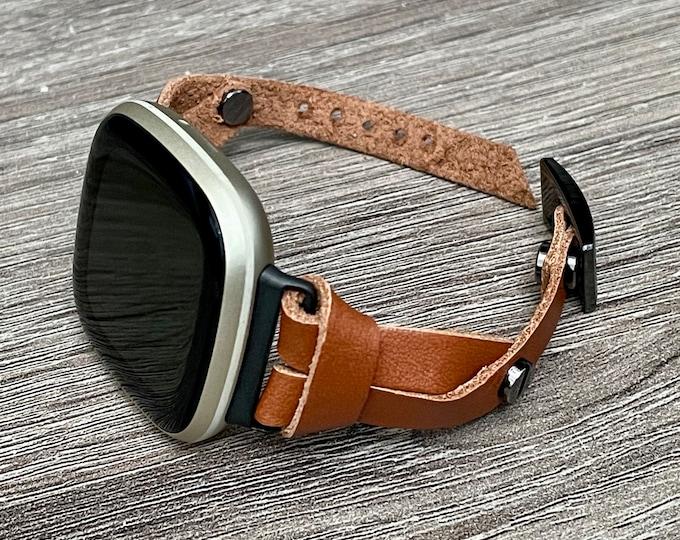 Fitbit Versa 3 Band Slim Brown Leather Strap Fitbit Sense Bracelet Adjustable Genuine Leather Smart Watch Wristband Women Dainty Jewelry