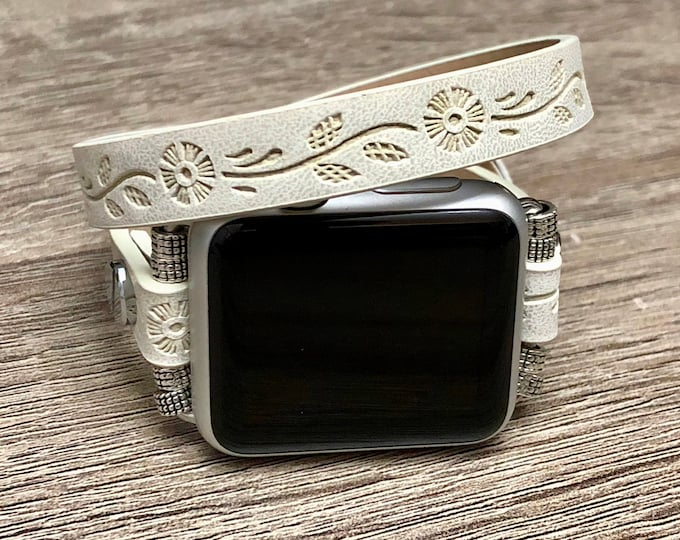 Vegan White Apple Watch Band Strap Women Adjustable Embossed Flowers Jewelry Apple Watch 38mm 40mm 42mm 44mm Double Wrap Eco Friendly Band