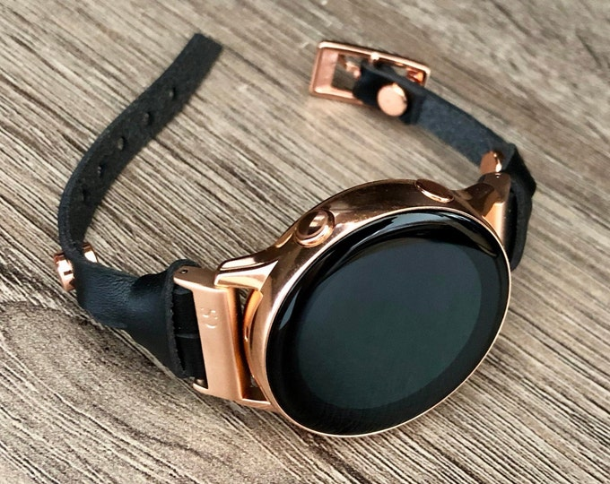 Women Rose Gold Galaxy Watch Active 40mm Strap Band Black Leather Galaxy Watch 42mm Band Rose Gold Galaxy Active2 Band 40mm 44mm Bracelet