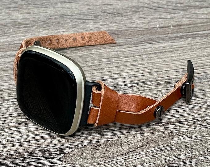 Brown Leather Fitbit Versa 3 Band Slim Fitbit Sense Bracelet Adjustable Genuine Leather Strap Smart Watch Wristband Women Dainty Jewelry