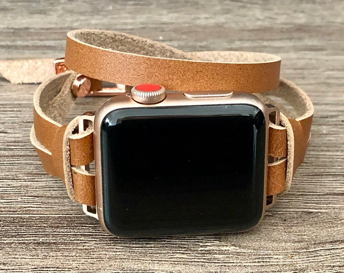 Apple Watch Band Women 41mm 45mm  Rose Gold & Brown Leather Apple Watch Strap Bracelet Adjustable Apple Watch Wristband 40mm 44mm 38mm 42mm