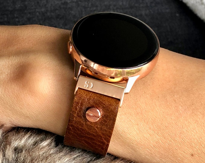 Caramel Brown Leather Samsung Galaxy Watch Active 2 Band 40mm 44mm Samsung Galaxy Watch 42mm Strap Bracelet 20mm Rose Gold Watch Band