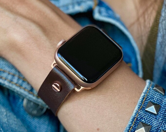 Apple Watch Band 41mm 40mm 45mm 44mm Brown Leather Apple Watch Bracelet Adjustable Apple Watch Wristband Rose Gold Apple Watch Strap