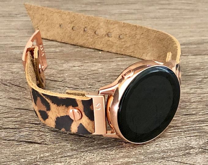 Leopard Print Samsung Galaxy Watch 42mm Band Galaxy Watch Active Band Samsung Galaxy Watch Active2 40mm - 44mm Rose Gold Watch Band