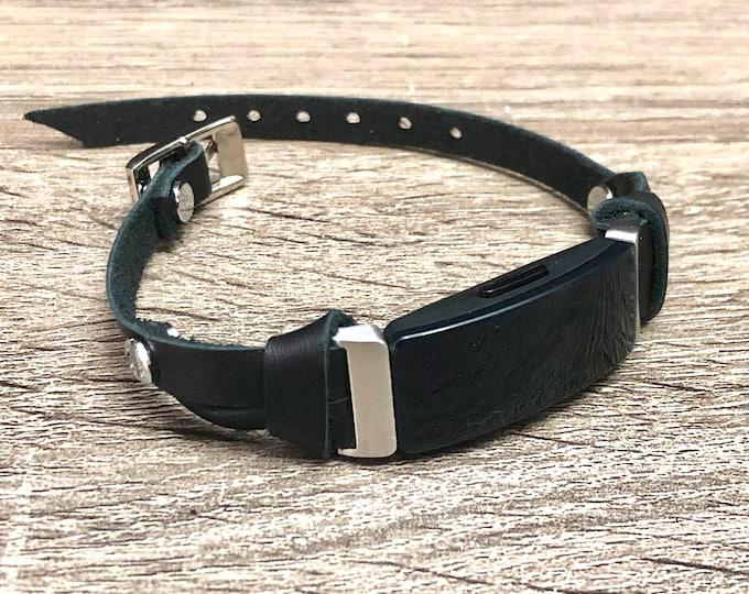 Women Fitbit Inspire Band Classic Silver & Black Bracelet Slim Genuine Leather Fitbit Strap, Fitbit Inspire HR Band, Fitbit Inspire Jewelry