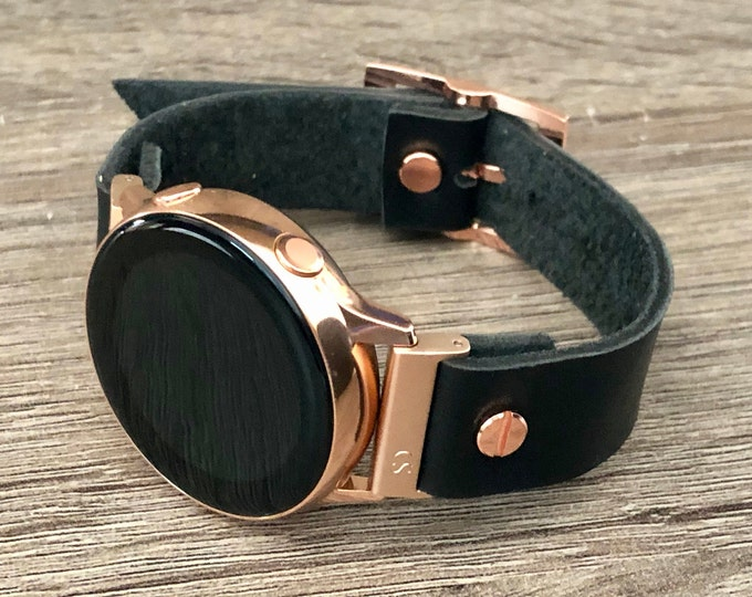 Black Leather Rose Gold Samsung Galaxy Active Band, Rose Gold Galaxy Watch Active2 Bracelet 40mm 44mm, Rose Gold Watch Band Cuff Wristband