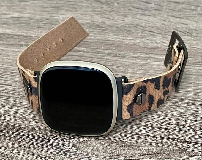 Leopard Print Leather Fitbit Versa 3 Band Fitbit Sense Bracelet Adjustable Genuine Leather Smart Watch Strap Band Women Wristband Jewelry