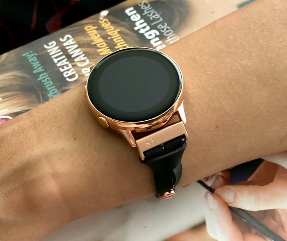 Galaxy Watch Band, Rose Gold & Black Leather Galaxy Watch 42mm Bracelet, Adjustable Galaxy Watch Active 40mm Band Leather Strap Wristband,