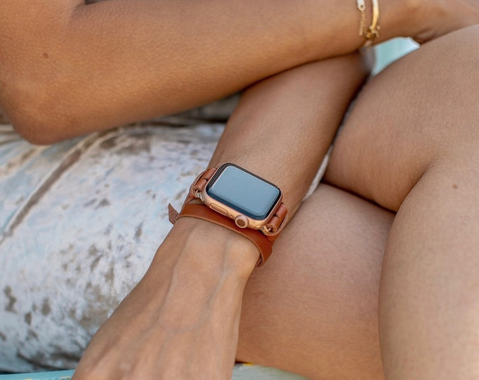 Rose Gold Apple Watch Band 38mm 40mm 42mm 44mm Light Brown Leather Apple Watch Strap Slim iWatch Bracelet Apple Watch Women Wristband