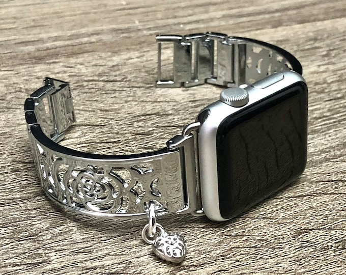 Silver Apple Watch Band 38mm 40mm 42mm 44mm Women iWatch Bracelet Adjustable Apple Watch Bangle Floral iWatch Band Jewelry Heart Medallion