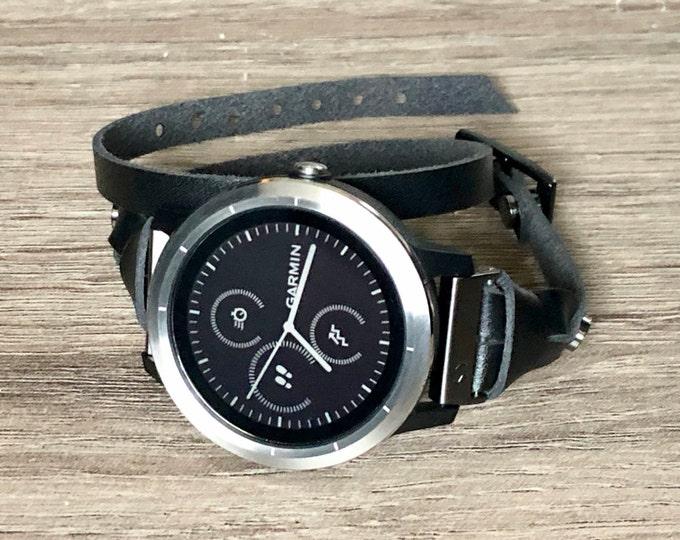 Leather Bracelet for Garmin Vivoactive 3 Watch Band Adjustable Double Wrapped Garmin Watch Strap Band Elegant Vivoactive 3 Watch Wristband