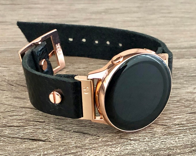 Black Leather Samsung Galaxy Watch Active 2 Band Strap 40mm 44mm, Samsung Galaxy Watch 42mm Black Bracelet, Gold Galaxy Watch Active2