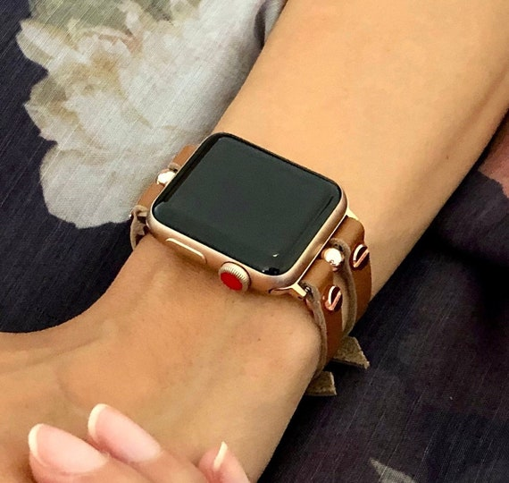 Brown Leather Apple Watch Band 38 40 42 44mm Pink Rose Gold Etsy