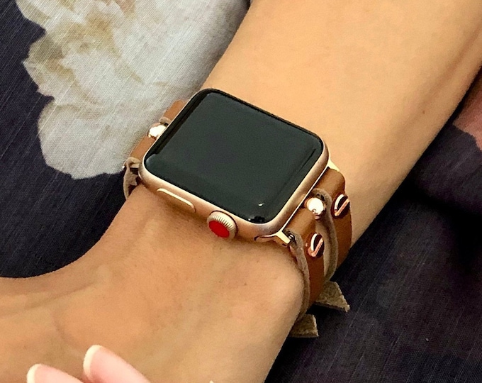 Brown Leather Apple Watch Band 38mm 40mm 42mm 44mm Rose Gold Apple Watch Strap Women iWatch Band Jewelry Bracelet Apple Watch Cuff Wristband
