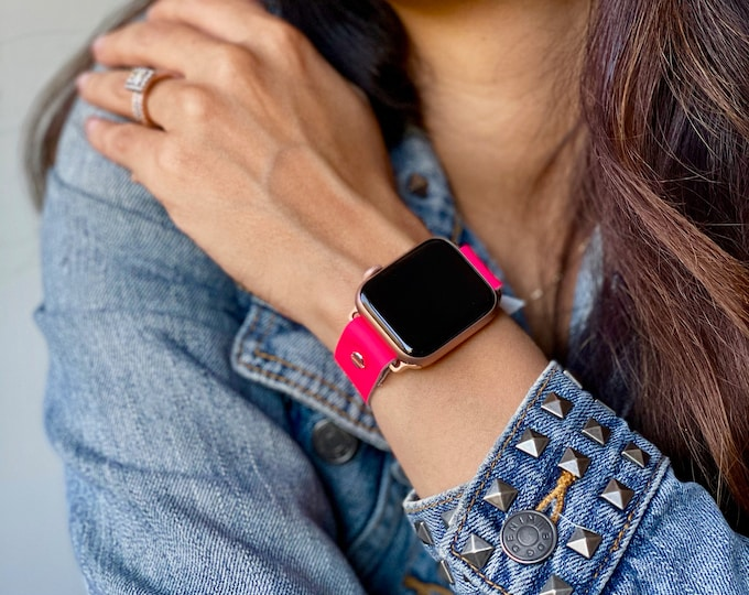 Pink Leather Apple Watch Band 38mm 40mm 42mm 44mm Rose Gold Apple Watch Strap Women iWatch Bracelet Cuff Jewelry Apple Watch Wristband