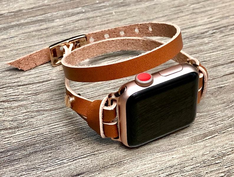 13e551d50 Rose Gold & Light Brown Leather Bracelet for Apple Watch 40mm   Etsy