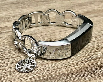 Elegant Silver Metal Bracelet for Fitbit Alta HR Band Tracker Adjustable  Tree of Life Band Crystals Rhinestones Jewelry for Fitbit Alta HR