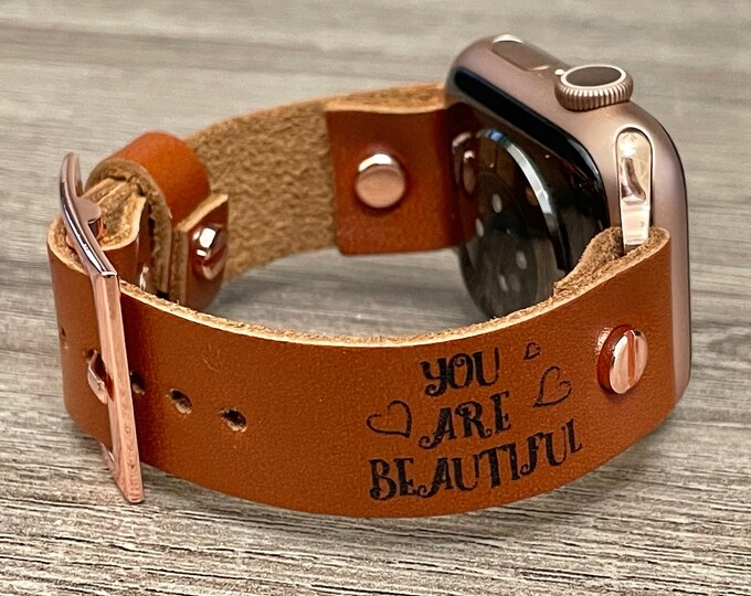 """Apple Watch Band 40mm 41mm 38mm 42mm 44mm 45mm iWatch Bracelet Adjustable Leather Wristband Inspirational Embossed """"You Are Beautiful"""" Strap"""