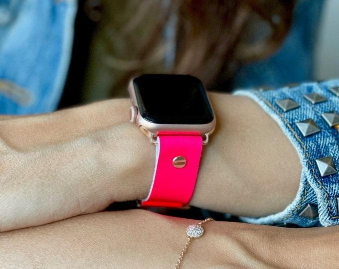 Pink Apple Watch Band 38mm 40mm 42mm 44mm Rose Gold Apple Watch Strap Women iWatch Cuff Bracelet Jewelry Adjustable Apple Watch Wristband