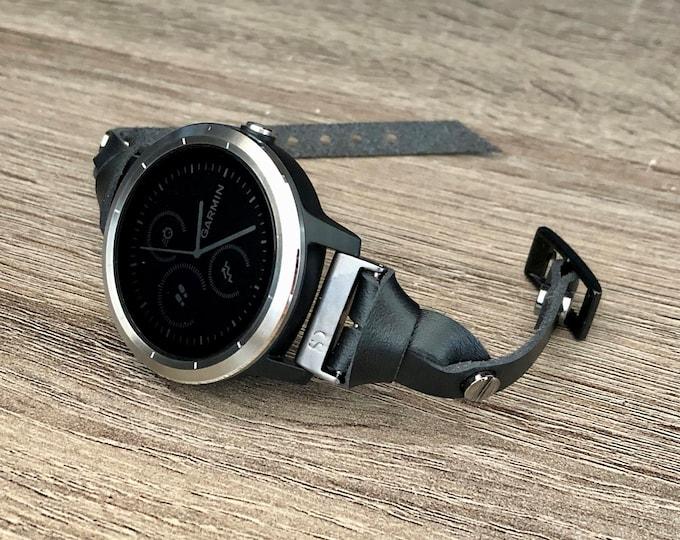 Garmin Vivoactive 3 Watch Band Adjustable Black Garmin Watch Strap Band Elegant Leather Vivoactive 3 Watch Wristband Garmin Watch Band