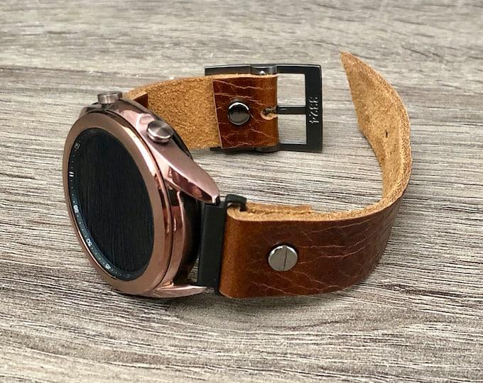 Samsung Galaxy Watch 3 Bracelet 41mm Watch Band Grain Brown Leather Galaxy Watch 3 Band Adjustable Genuine Leather Strap Cuff Wristband