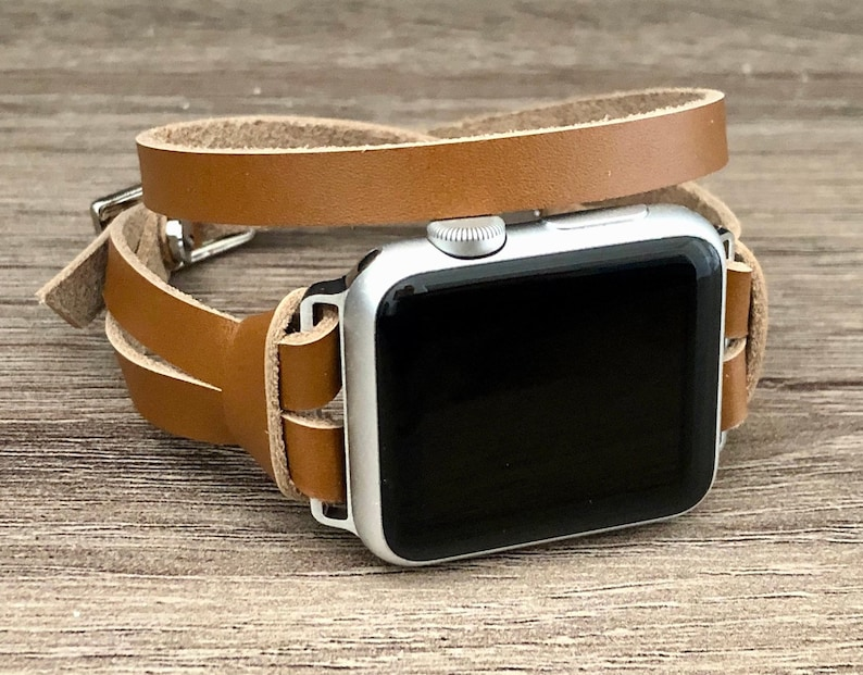 Silver & Bronze Leather Apple Watch Band 38mm 40mm 42mm 44mm image 0