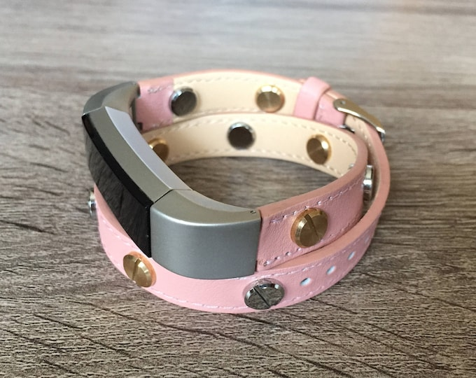 Two Toned Pink Leather Band For Fitbit Alta HR Double Wrapped Eco Friendly Strap Fitbit Alta Accessories Fitbit Bands Fitbit Bracelets