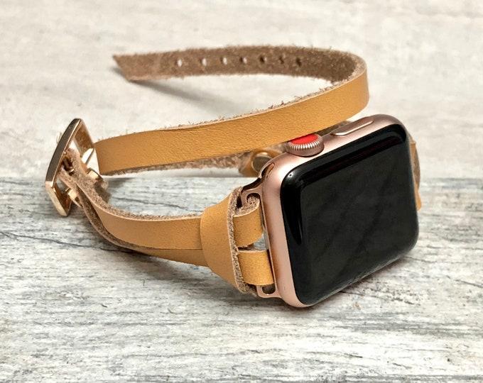 Rose Gold & Tan Leather Bracelet for Apple Watch 38mm 42mm Apple Watch Band Women Series 4 iWatch Rose Gold Bracelet 40mm 44mm Jewelry Wrap