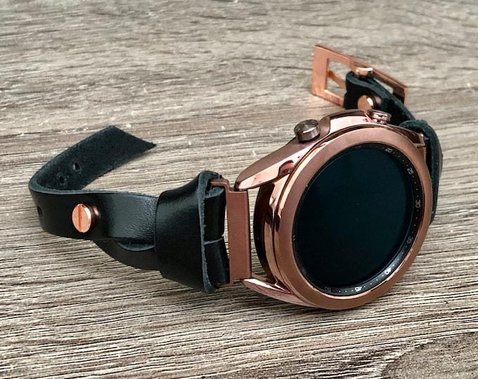 Bronze Samsung Galaxy Watch 3 Leather Bracelet 41mm Watch Band Slim Strap Galaxy Watch 3 Band Adjustable Black Leather Strap Wristband
