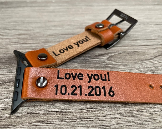 Personalized Brown Leather Apple Watch Band 38mm 40mm 41mm 42mm 44mm 45mm Custom Engraved Apple Watch Bracelet iWatch Strap Watch Wristband
