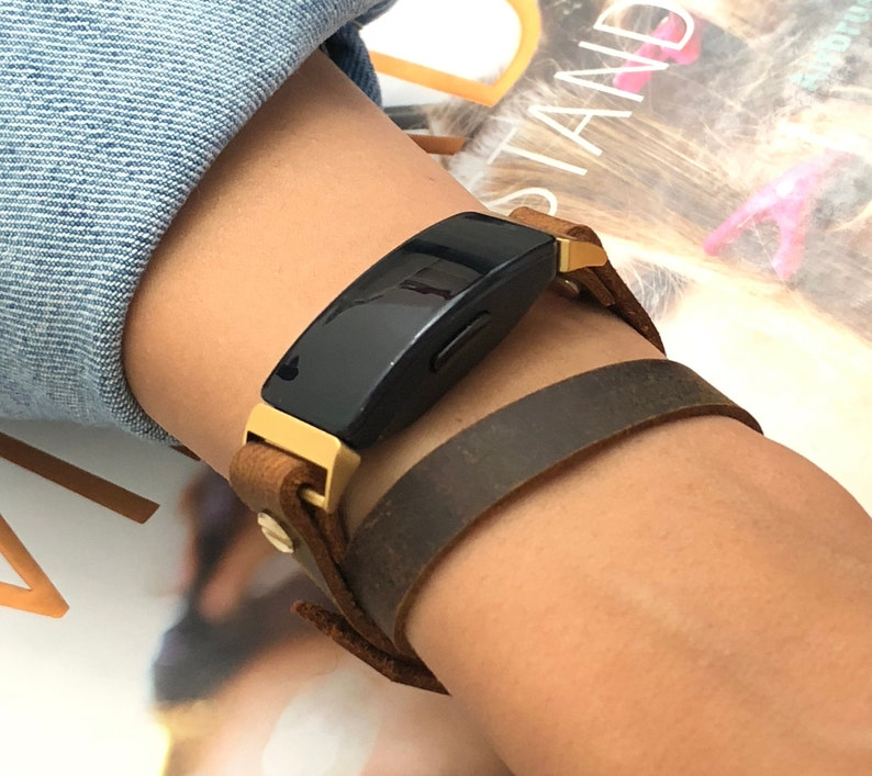 Brown Leather Fitbit Inspire Band Gold Fitbit Inspire HR image 0