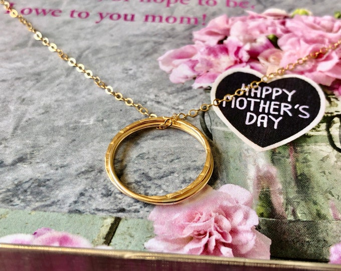 Dainty 14K Gold Filled Necklace & Double Infinity Ring Pendant for Mother's Day Gift Hammered Charm Gorgeous Chain Choker Fancy Jewelry Gift