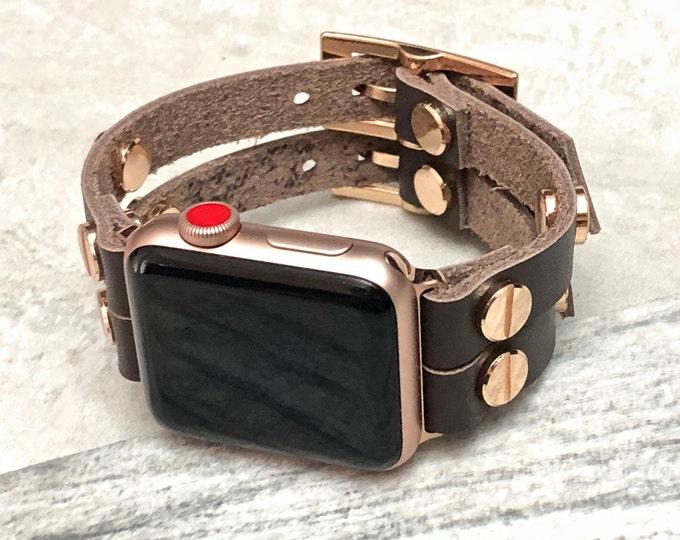 Apple Watch Band Women 38mm 40mm 42mm 44mm iWatch Band Brown Leather Apple Watch Strap Women iWatch Bracelet Apple Watch Rose Gold Wristband