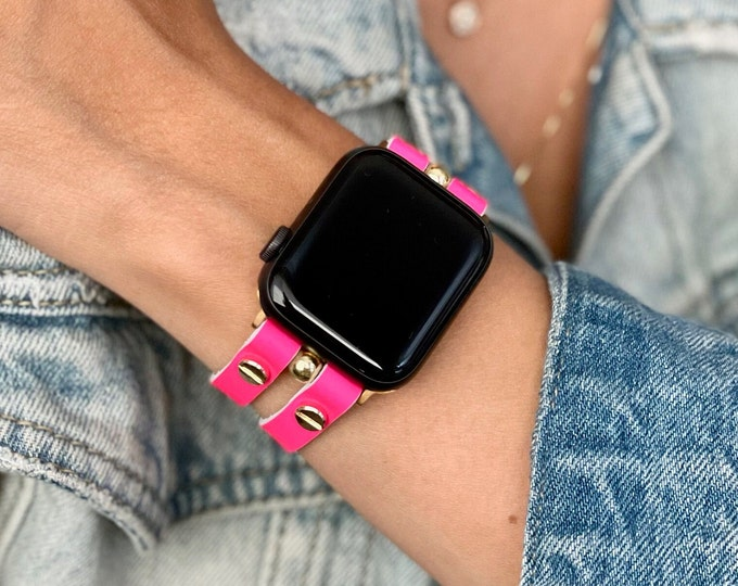 Pink Leather Apple Watch Band 38mm 40mm 42mm 44mm Gold Apple Watch Strap Women iWatch Bracelet Jewelry Apple Watch Wristband