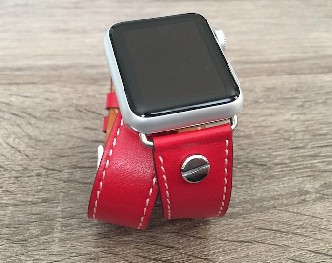 Fashion Red Bracelet for Apple Watch All Series Vegan Handmade Double Wrap Leather Silver Rivets Wristband Multi Wrap Apple Watch Band Gift