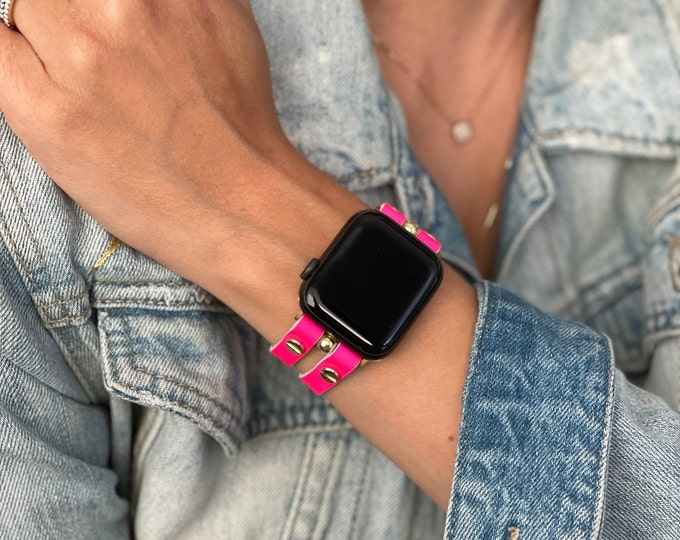 Pink Apple Watch Band 38mm 40mm 42mm 44mm Gold Apple Watch Leather Strap Women iWatch Bracelet Apple Watch Wristband Slim iWatch Cuff Band