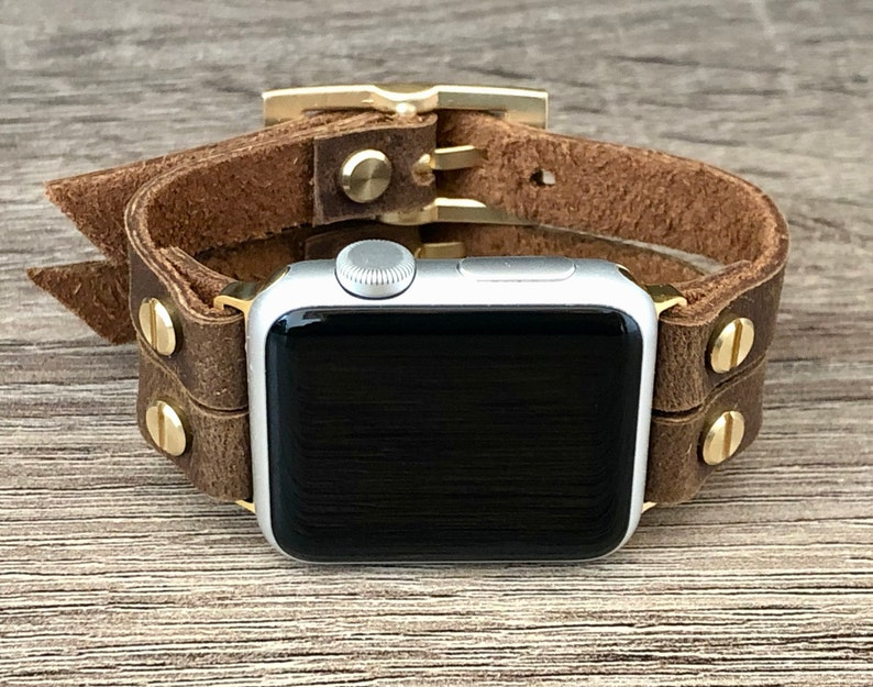 Brown Leather Apple Watch Band 38mm 40mm 42mm 44mm iWatch image 0