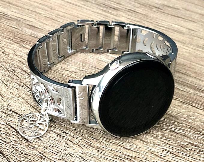 Samsung Galaxy Watch Band Shiny Silver Women Style Samsung Galaxy Watch Active Bracelet Silver Tree of Life Medallion 20mm Watch Bracelet