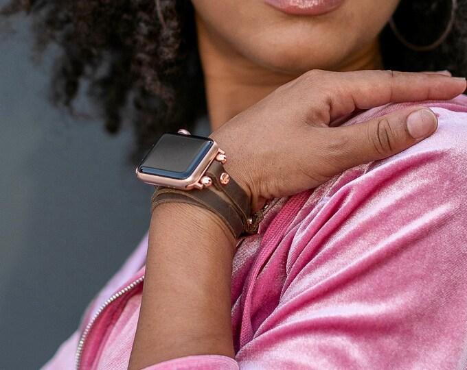 Vintage Rustic Leather Apple Watch Bracelet 38mm 40mm 42mm 44mm Rose Gold Apple Watch Band iWatch Wristband Multi Wrap Women iWatch Strap