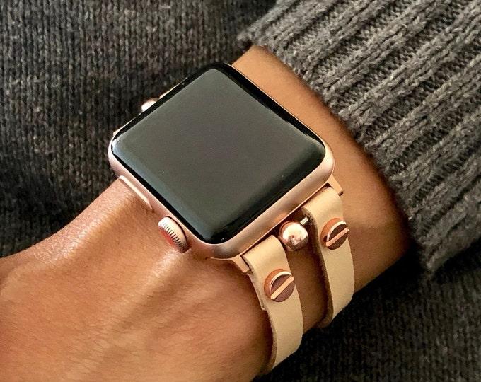 Cream Color Leather Apple Watch Bracelet Rose Gold Apple Watch Band 38mm 40mm 42mm 44mm iWatch Band Vegan Jewelry Cuff Women  Wristband
